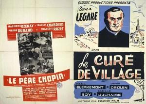 Les affiches des films Le père Chopin (1945) et Le Curé de village (1949).