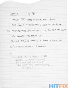 Notes manuscrites de Bob Gale pour Back to the Future Part II & III et datées du 1er avril 1986.