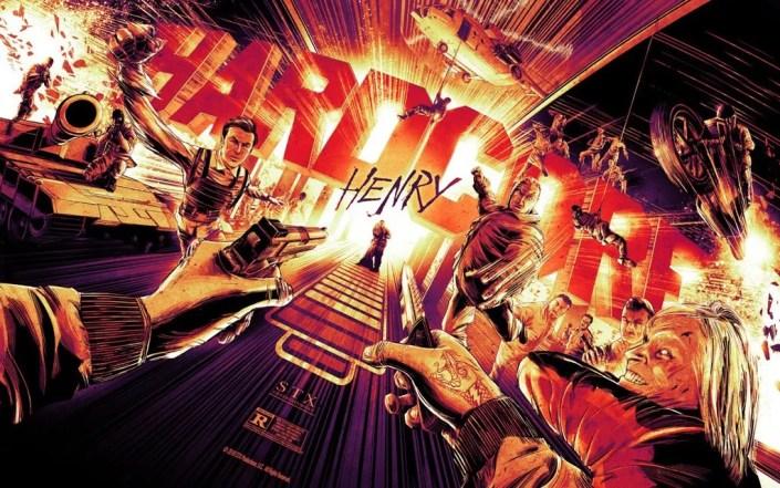 Une affiche de l'artiste Cesar Moreno pour Hardcore Henry.