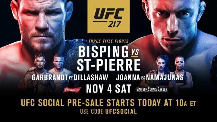 UFC 217 Bisping vs St-Pierre