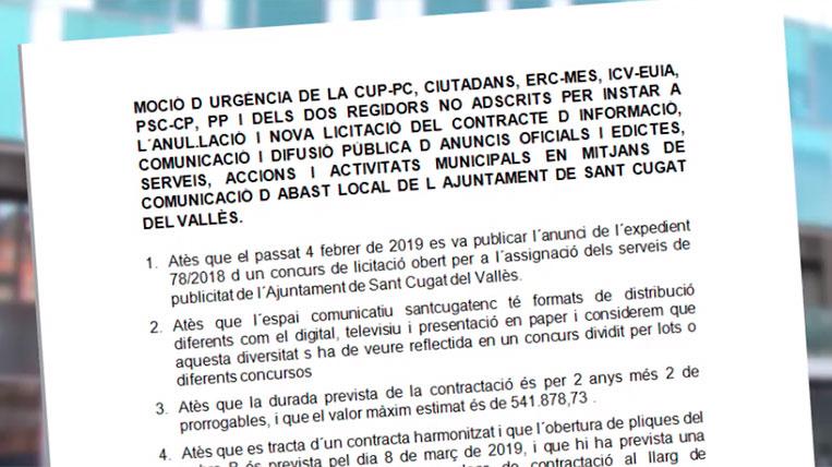 L'oposició demana anul·lar el concurs públic de licitació de publicitat