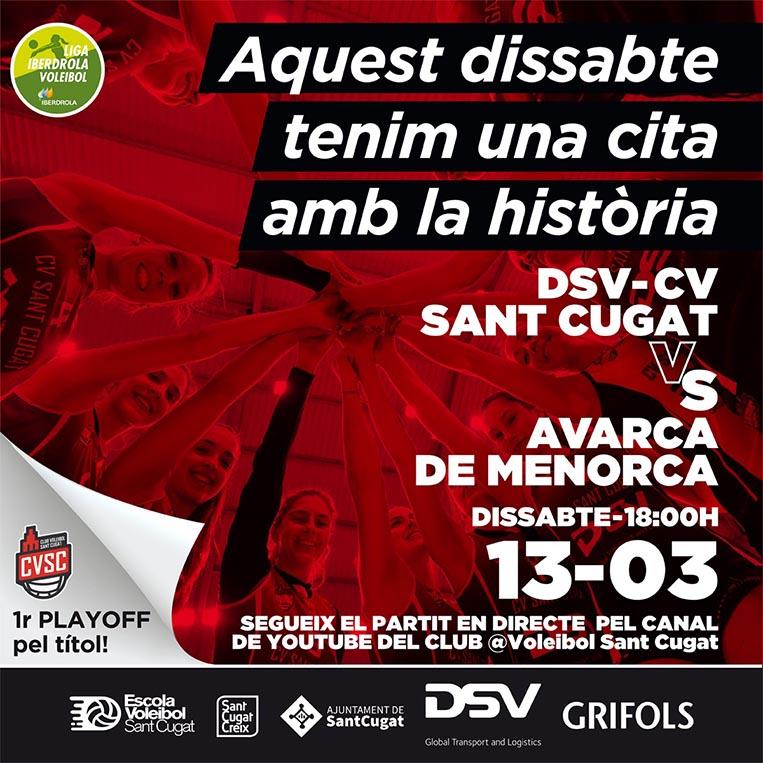 El partit: Aquest dissabte tenim una cita amb el DSV Club Voleibol Sant Cugat.  13/03/21
