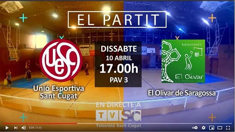 El partit: Basquet masculí amb l'Unió Esportiva  Sant Cugat  10/04/21