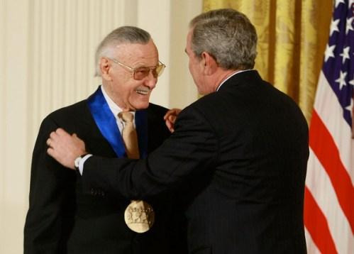 Stan Lee and President Bush