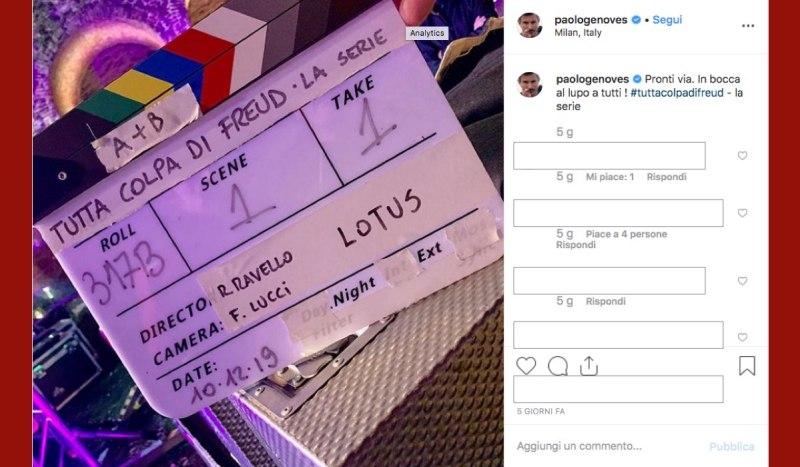 Paolo Genovese è alla regia di Tutta Colpa di Freud La Serie, qui una foto del primo ciak condivisa dallo stesso Genovese sul suo profilo Instagram