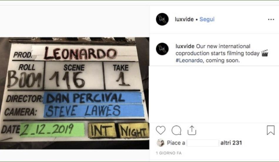 Foto condivisa sull'account Instagram ufficiale di Lux Vide, dove si comunica l'inizio delle riprese della fiction Leonardo