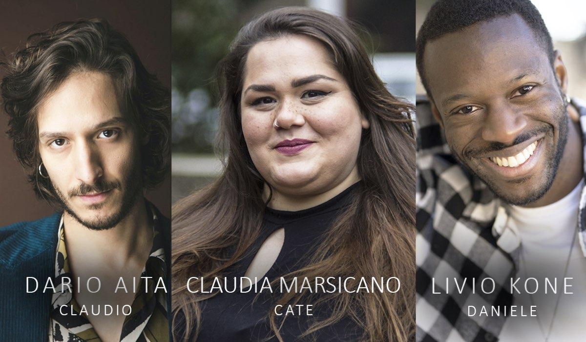 Da sinistra: Dario Aita, Claudia Marsicano e Livio Kone. Ph Credits: Francesca Marino, Yuri Casagrande Conti e Paolo Palmieri.