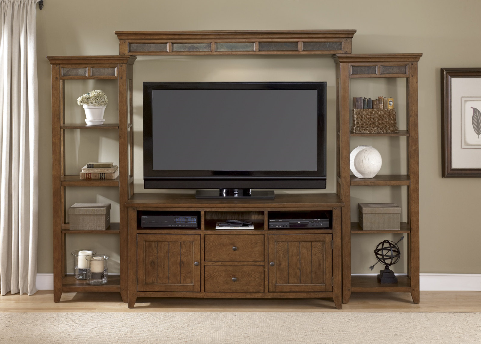 Liberty Hearthstone Entertainment Wall Set In Rustic Oak