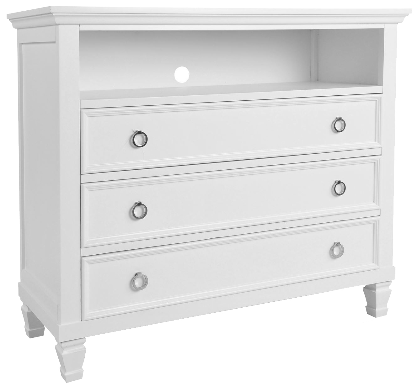 New Classic Tamarack 3 Drawer Media Chest In White BB044W 078