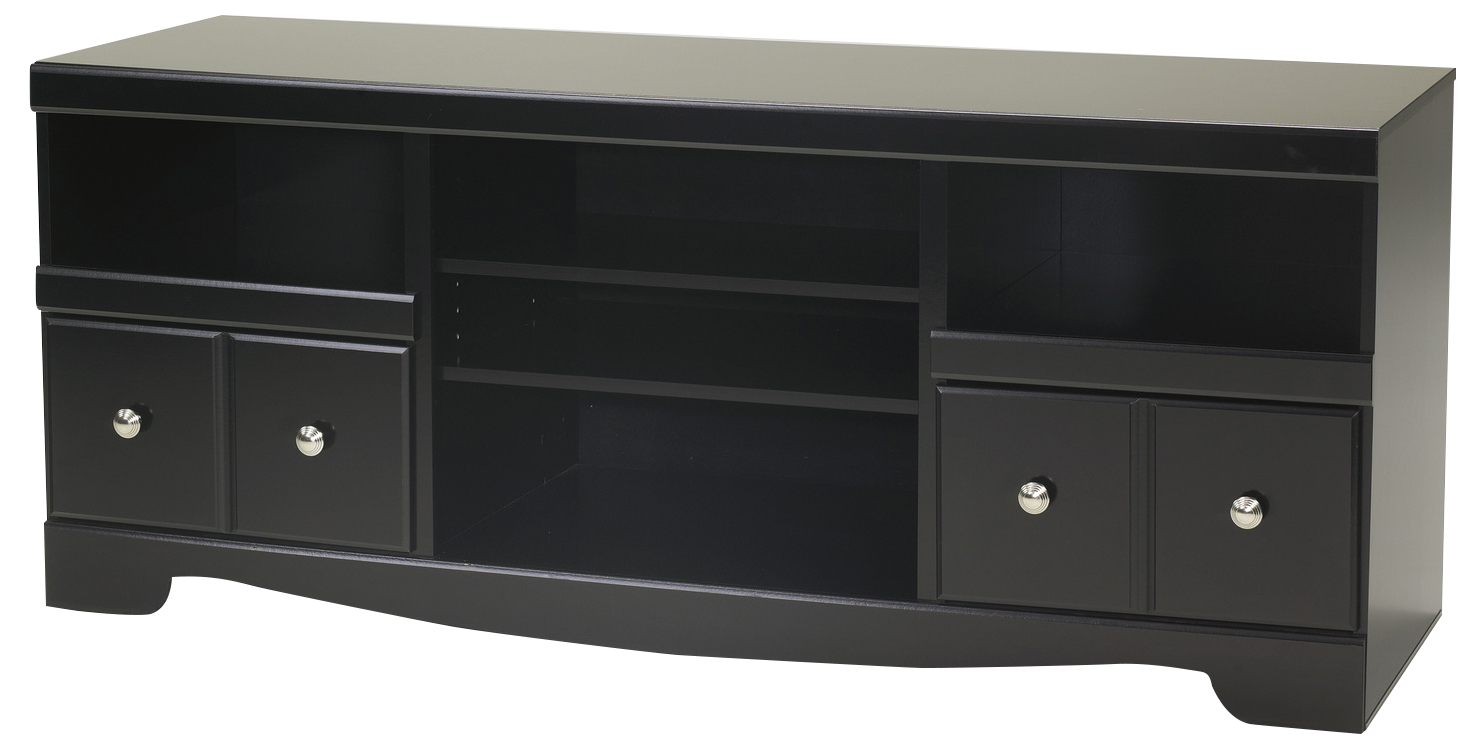 Shay Large TV Stand with Fireplace Option in Black W27168