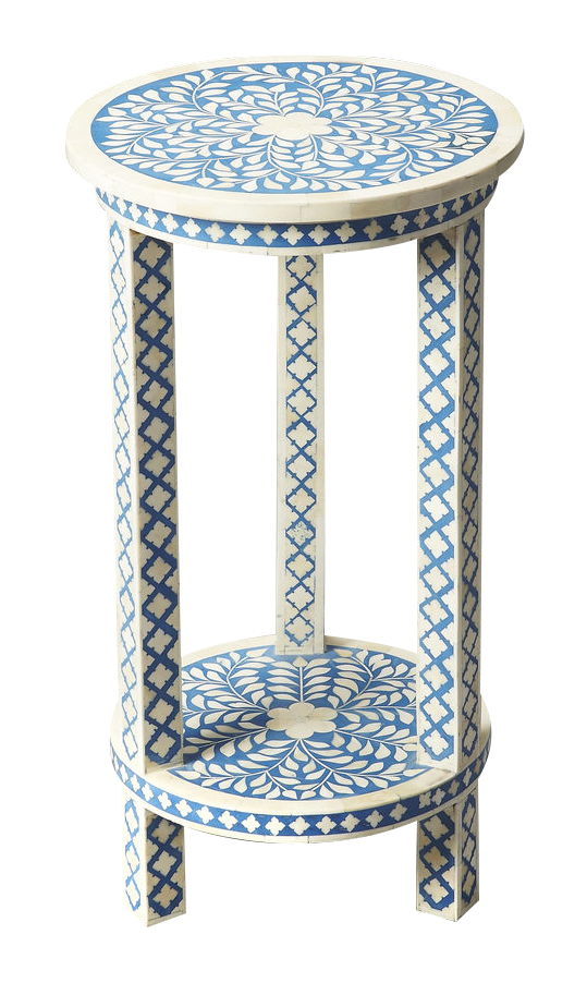 Butler Specialty Bone Inlay Accent Table in Heritage Blue