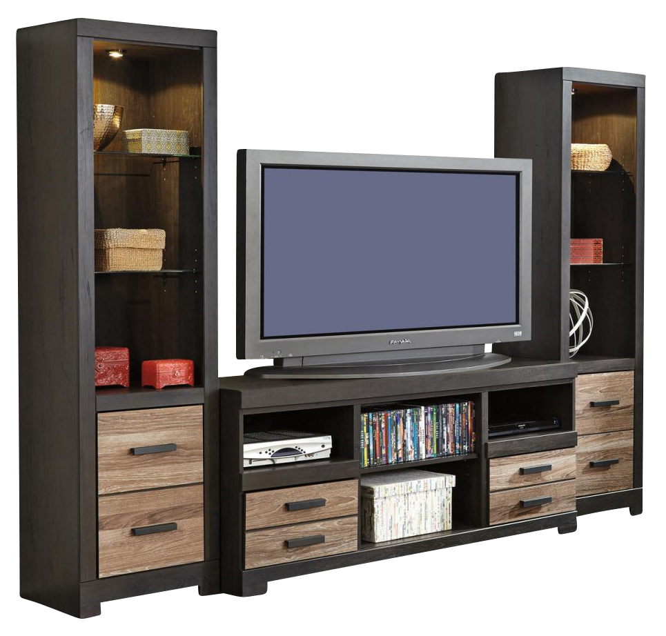 Harlinton Large TV Stand WFireplace Option Amp Tall Piers