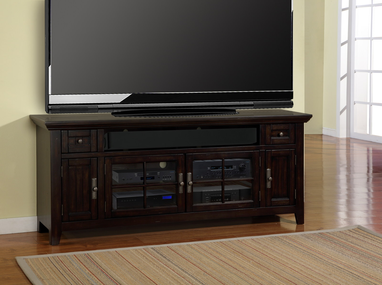 Parker House Tahoe 72 TV Console In Vintage Black TAH72
