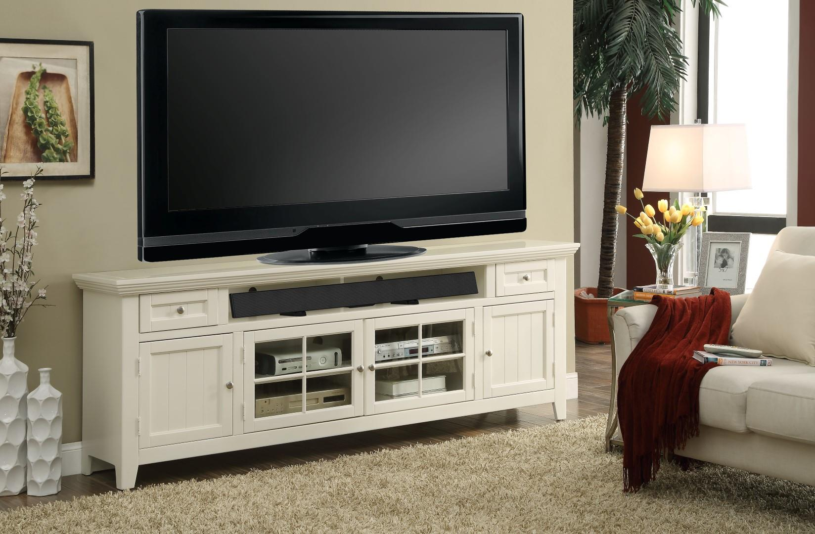 Parker House Tidewater 84 TV Console In Vintage White TID
