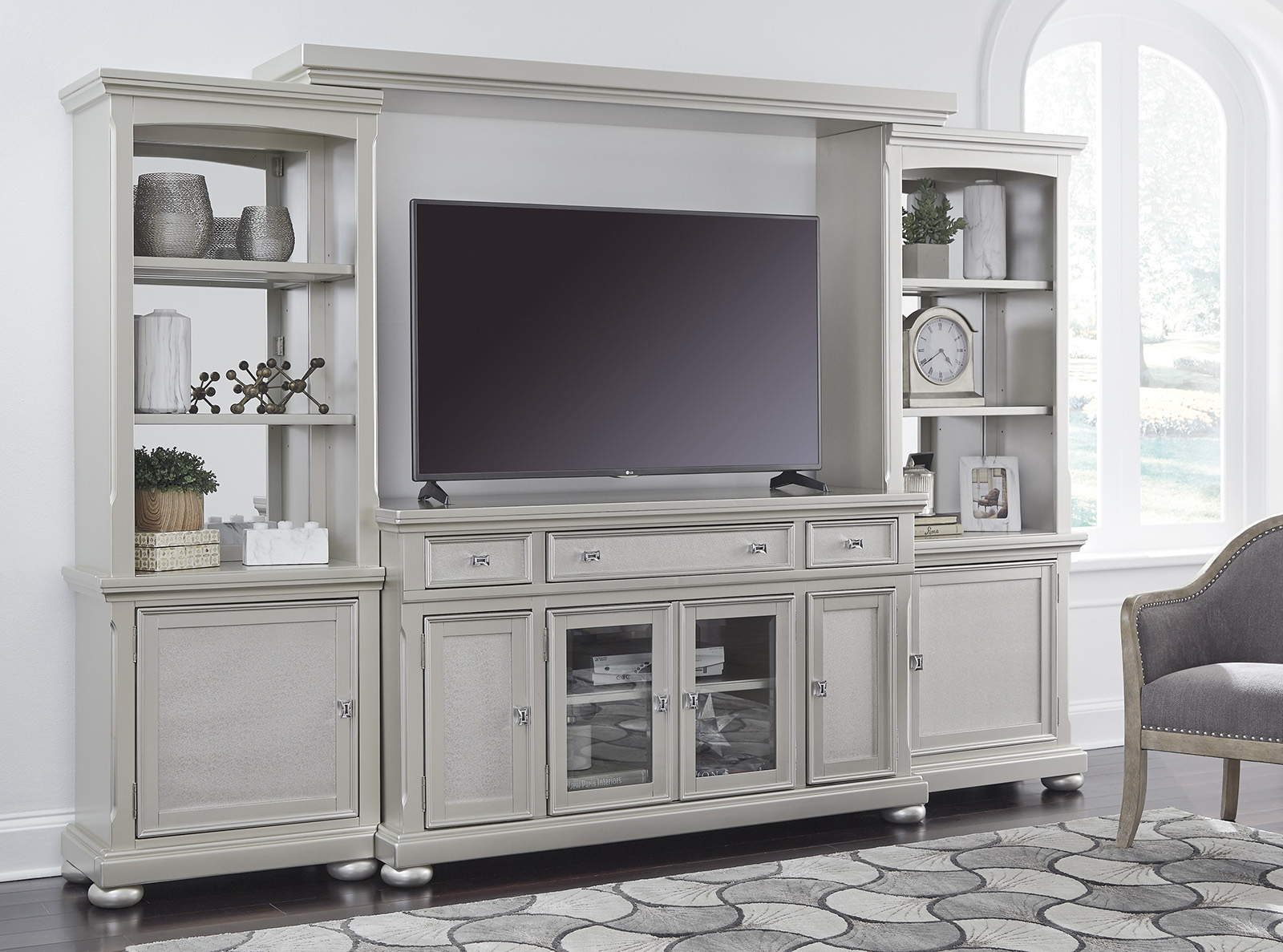 Coralayne Wall Entertainment Center In Silver