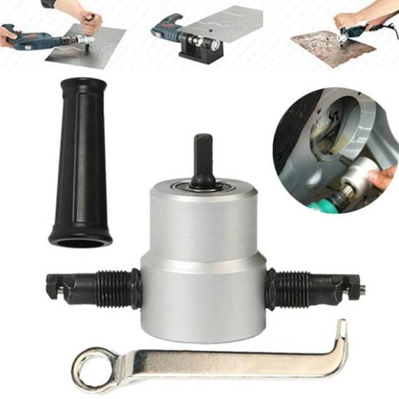 Metal-Cutting-Dual-Head-Sheet-Nibbler-Hole-Saw-Cutter-Drill-Tool-Tackle-Double-Head-Drill-Attachment