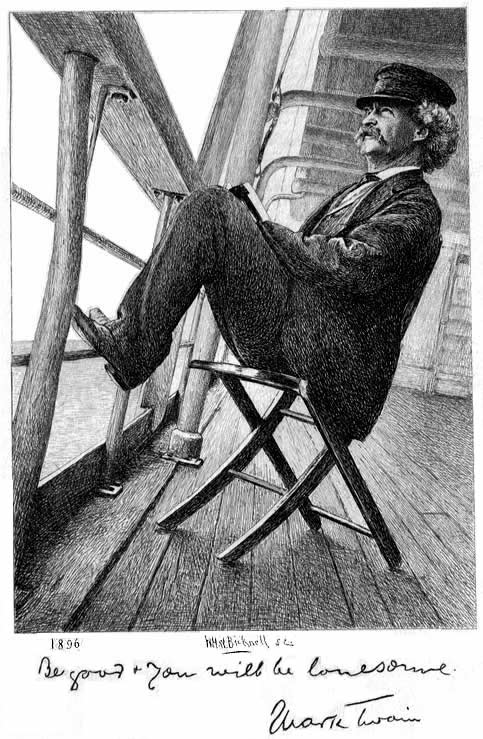 Mark Twain in the Pacific, etching by W. H. W. Bicknell, from 1896 photograph by Walter G. Chase,