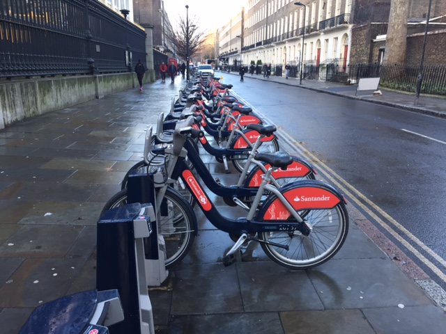 Row of Santander Bikes in London