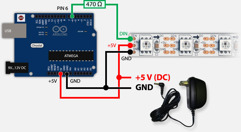 led bar wiring diagram leviton light switch tweaking4all com arduino controlling a ws2812 strand with only running on external power supply