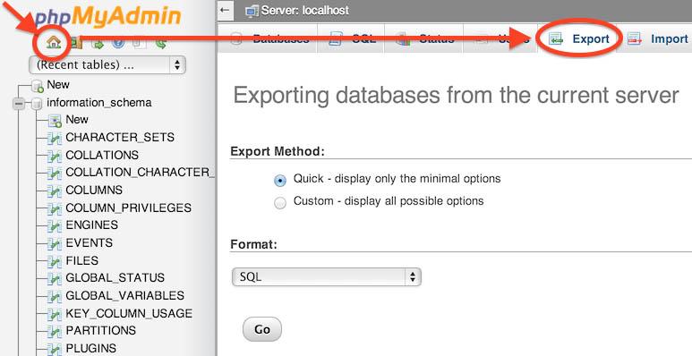 תוצאת תמונה עבור phpmyadmin export