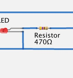 testing your pir with a battery led and a resistor [ 1884 x 613 Pixel ]