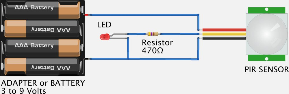 medium resolution of testing your pir with a battery led and a resistor