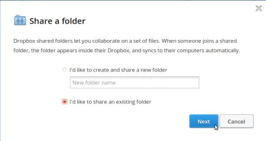 Dropbox sharing folder request