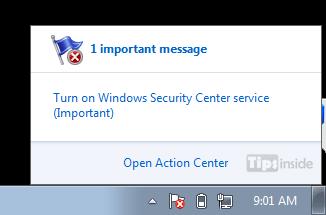 flag message turn on windows security center sertvice