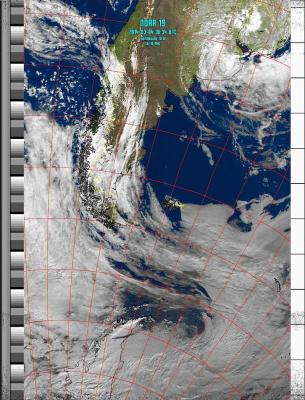 false colour visible light image stretching from Brazil in the north to the base of the Antarctic Peninsula in the south