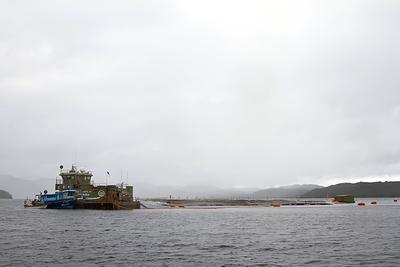 A salmon farm near Isla Jechica
