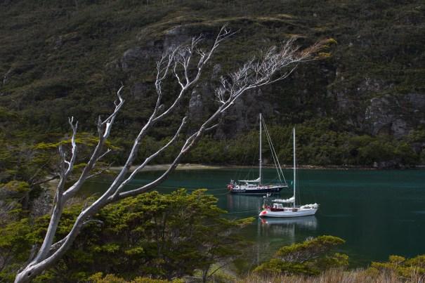 """Morgane"" moored alongside ""Polarwind"" in Caleta Olla by Christopher James Harris."