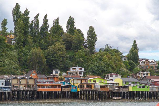The iconic palafitos in Castro