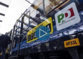Roma Tiburtina: partito il treno di Renzi e del Pd, attraverserà tutta l'Italia