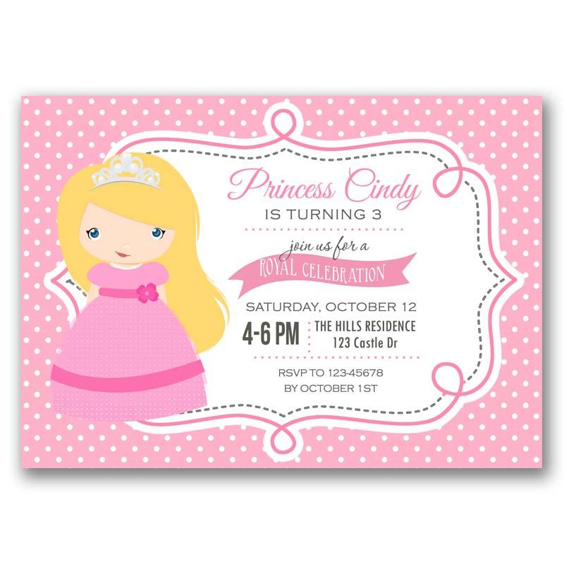pink princess birthday invitation  tweetpaperie