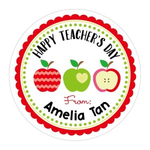 Teacher's Day Gift Stickers with Apples