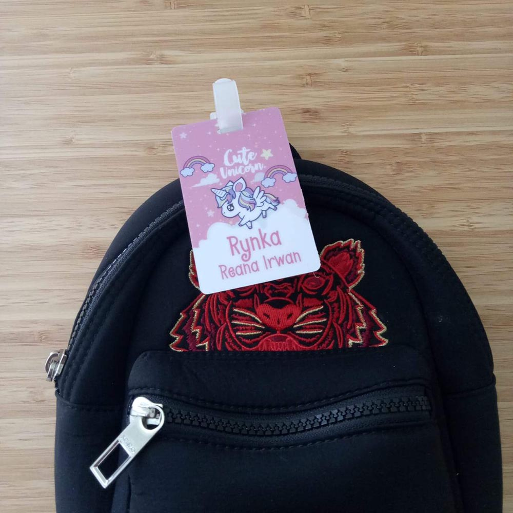 Personalised Bag Tag Singapore | PVC Bag Hanger with Name for Kids