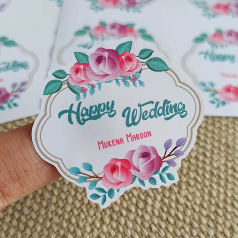 Personalised Flowers / Floral Stickers Singapore - Elegant Waterproof Labels