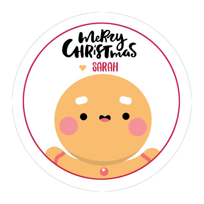 Cute Gingerbread Man Customised Christmas Stickers