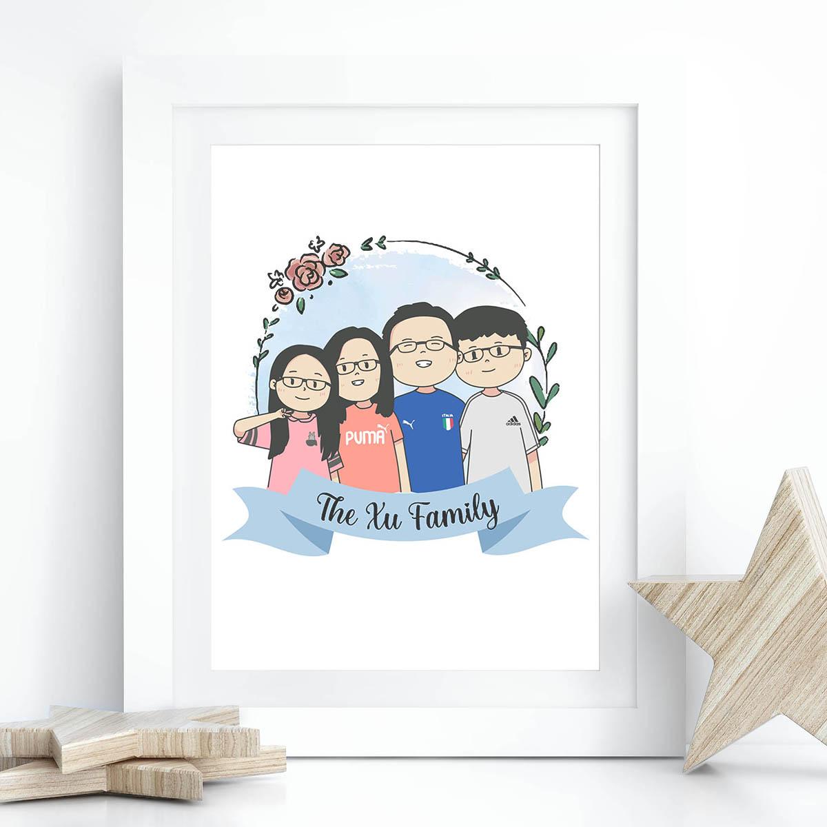 Kawaii Chibi Drawings Family Personalized Gifts Singapore