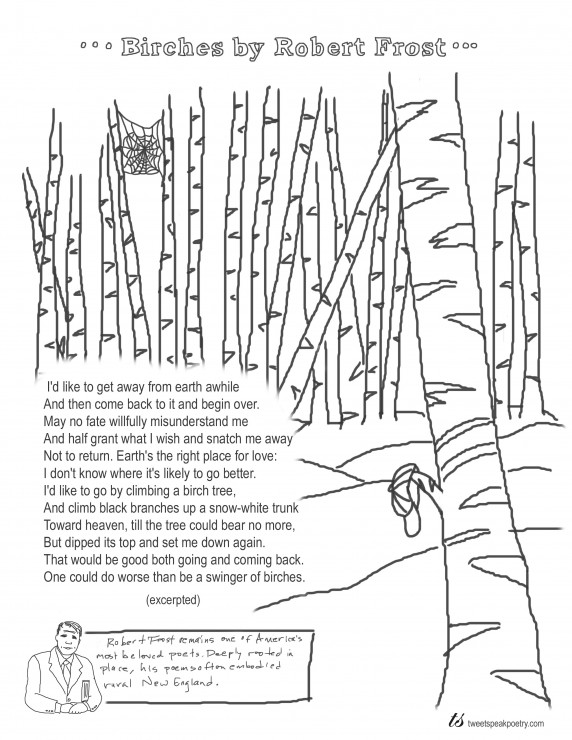 Coloring Page Poems: Birches by Robert Frost
