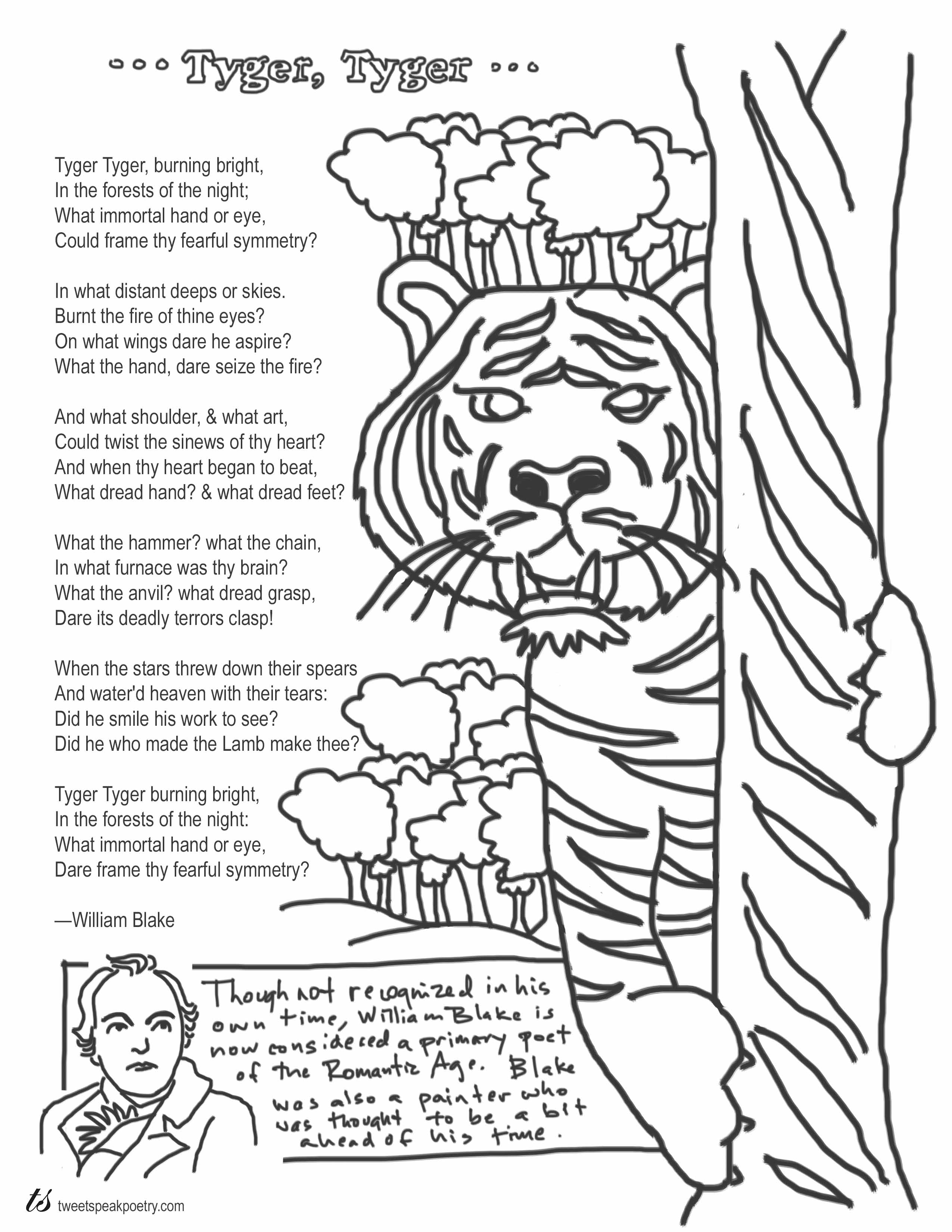 Tyger Tyger by William Blake Coloring Page Poem