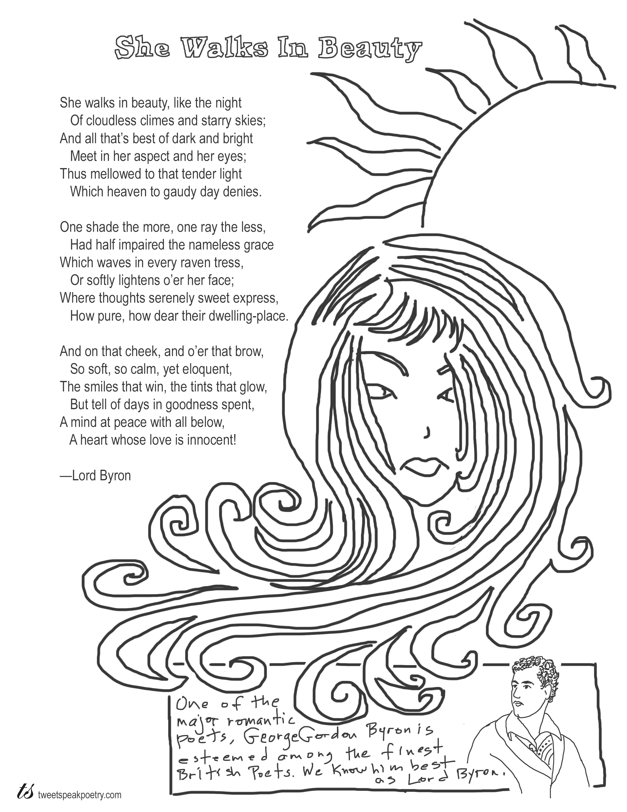 She Walks in Beauty by Lord Byron Coloring Page Poem