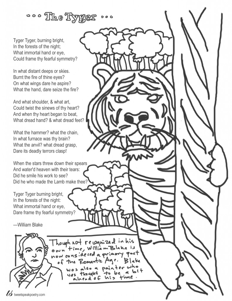 Coloring Page Poems: The Tyger by William Blake