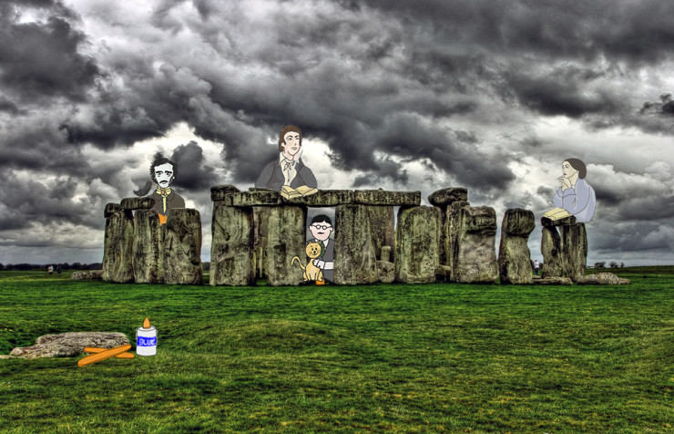 Stonehenge with Rossetti Keats Eliot and Poe for Take Your Poet to Work Day