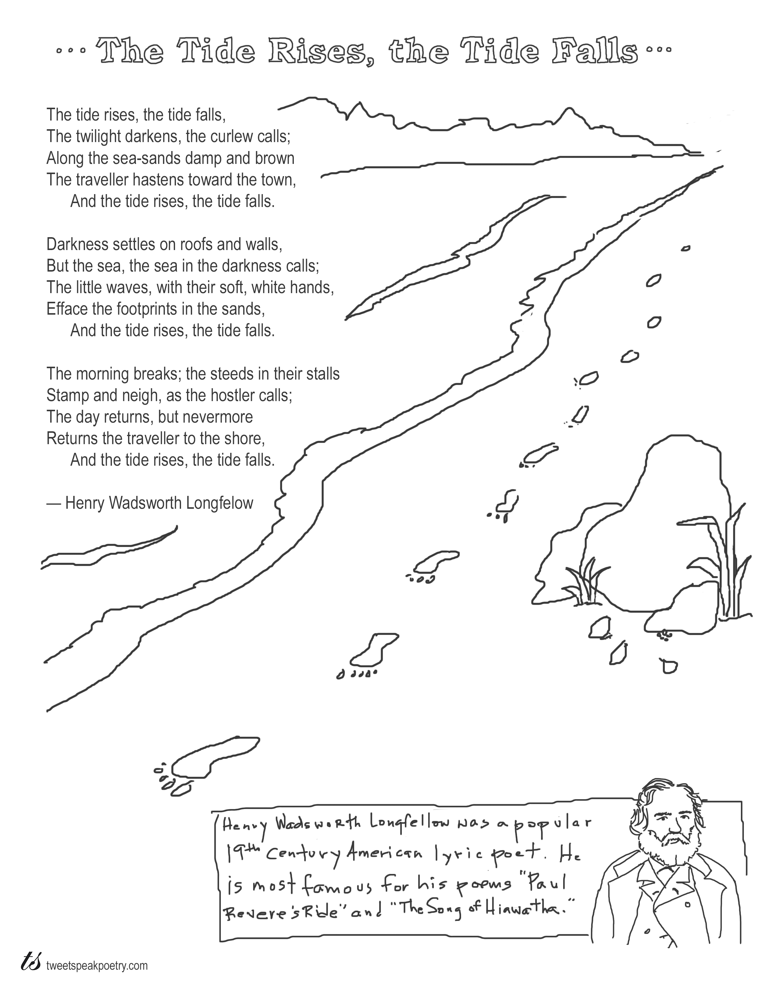 Coloring Page Poems The Tide Rises The Tide Falls By