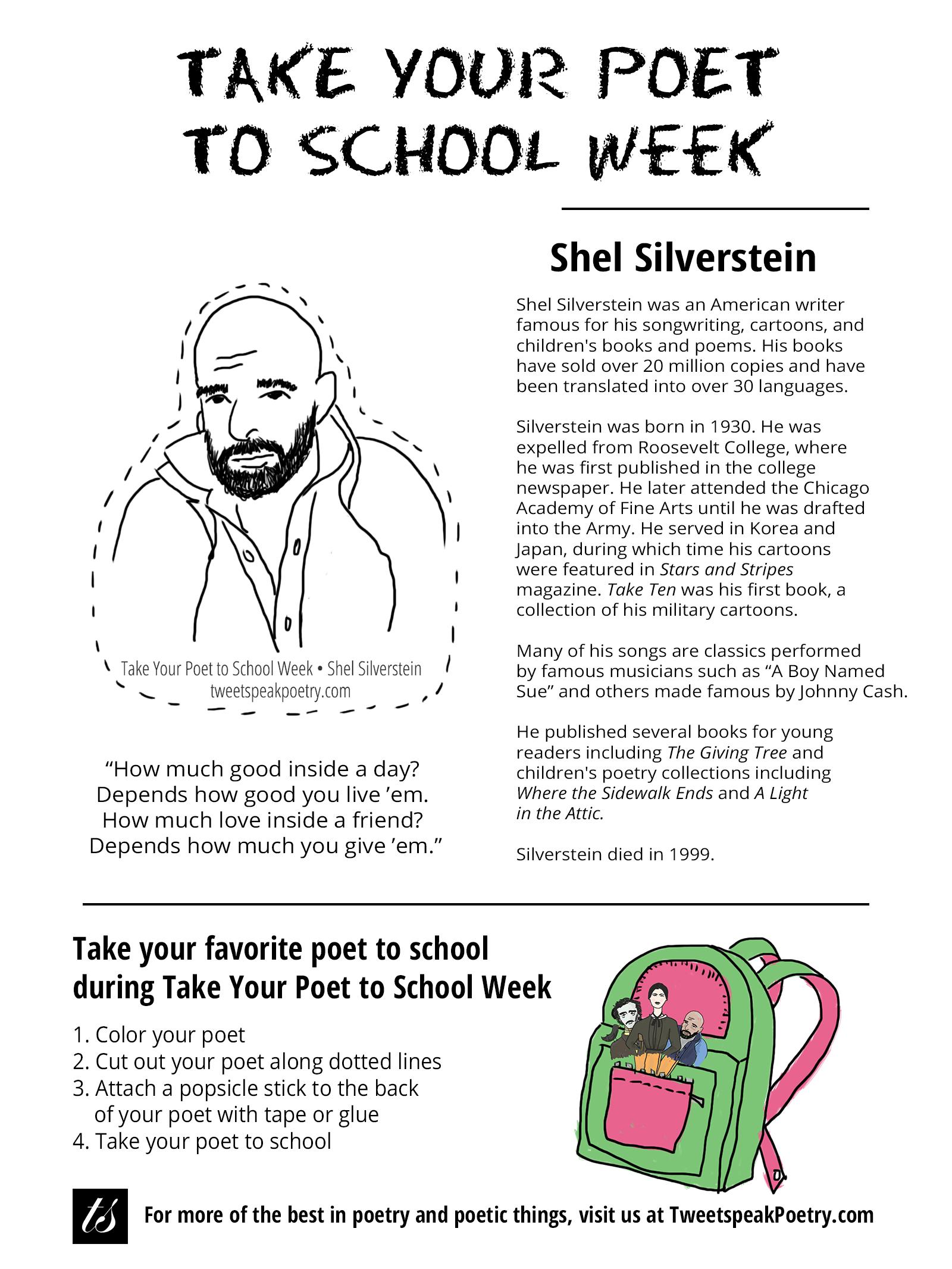 Take Your Poet To School Shel Silverstein Printable