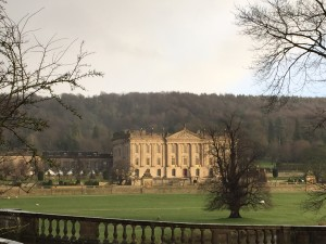 Chatsworth glowing in the brief sunshine.