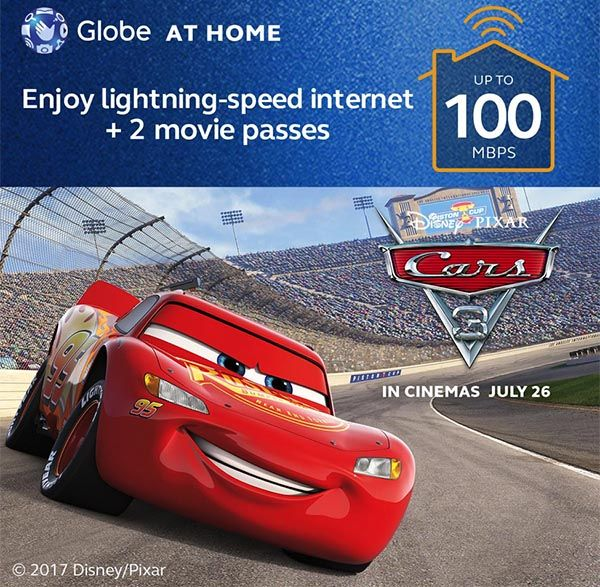Disney Pixar's Cars 3 Movie Tickets Up For Grabs For New Globe At Home Customers