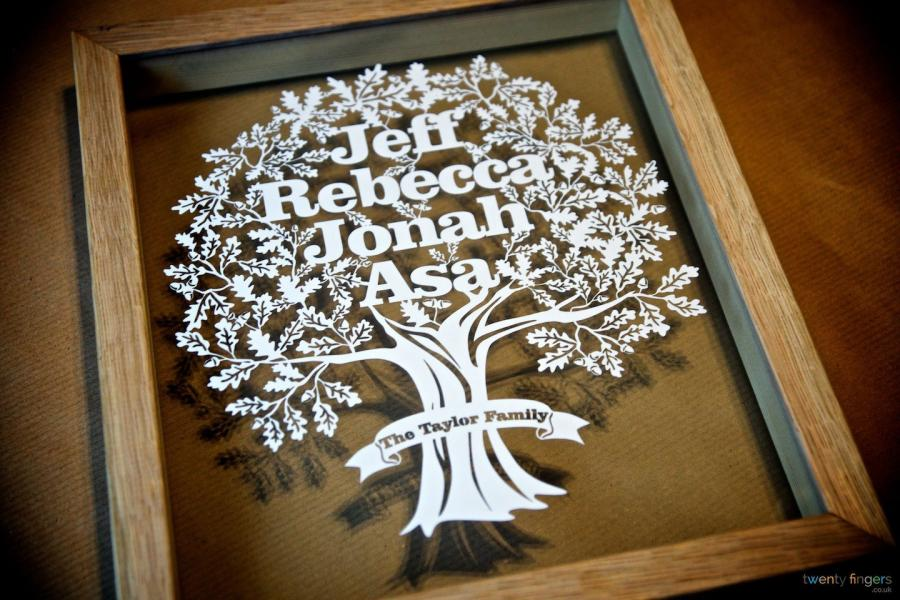 FAMILY TREE PAPERCUT Personalised T In A Floating Frame