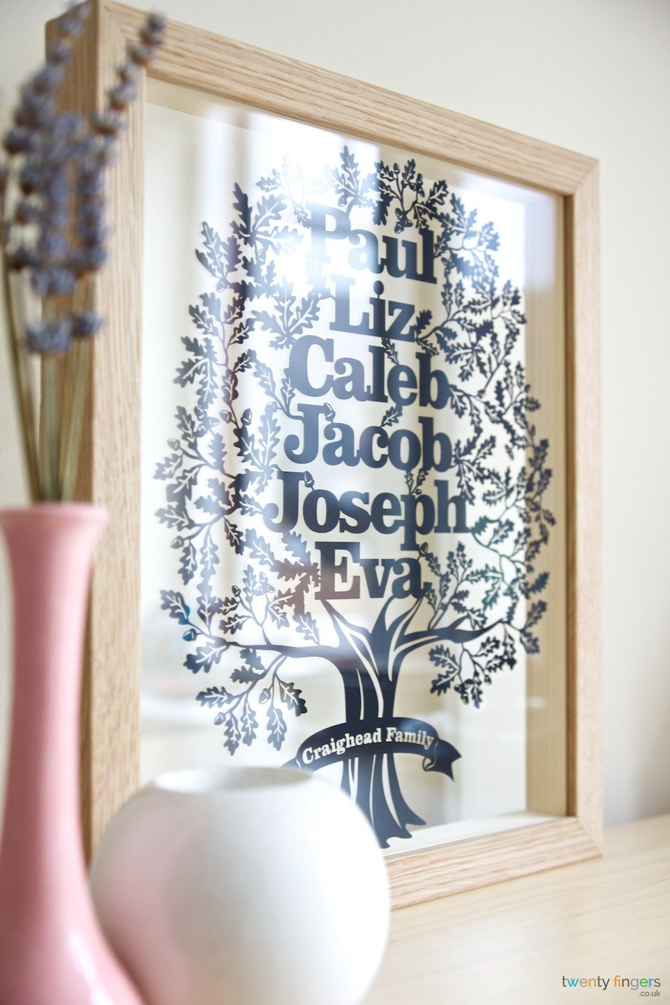 Twenty Fingers  Personalised Family Tree Papercut Gift  more